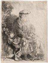 Rembrandt Harmensz. van Rijn: Abraham, Isaak liebkosend