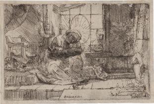 Rembrandt Harmensz. van Rijn: Die Heilige Familie mit der Katze