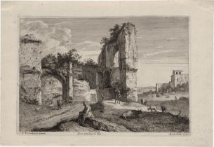 Morin, Jean: Landschaft mit Ruine unf Staffage