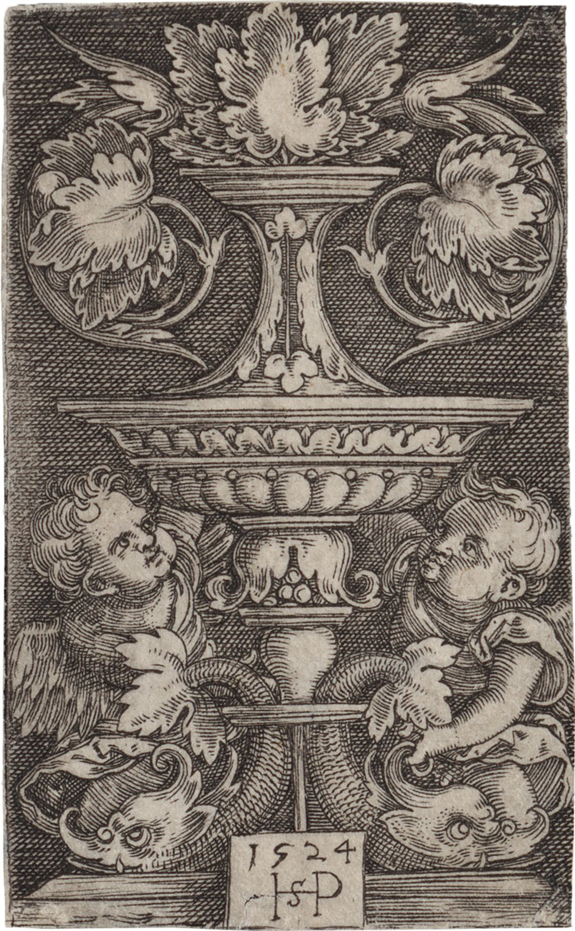Beham, Hans Sebald: Vase mit zwei Genien