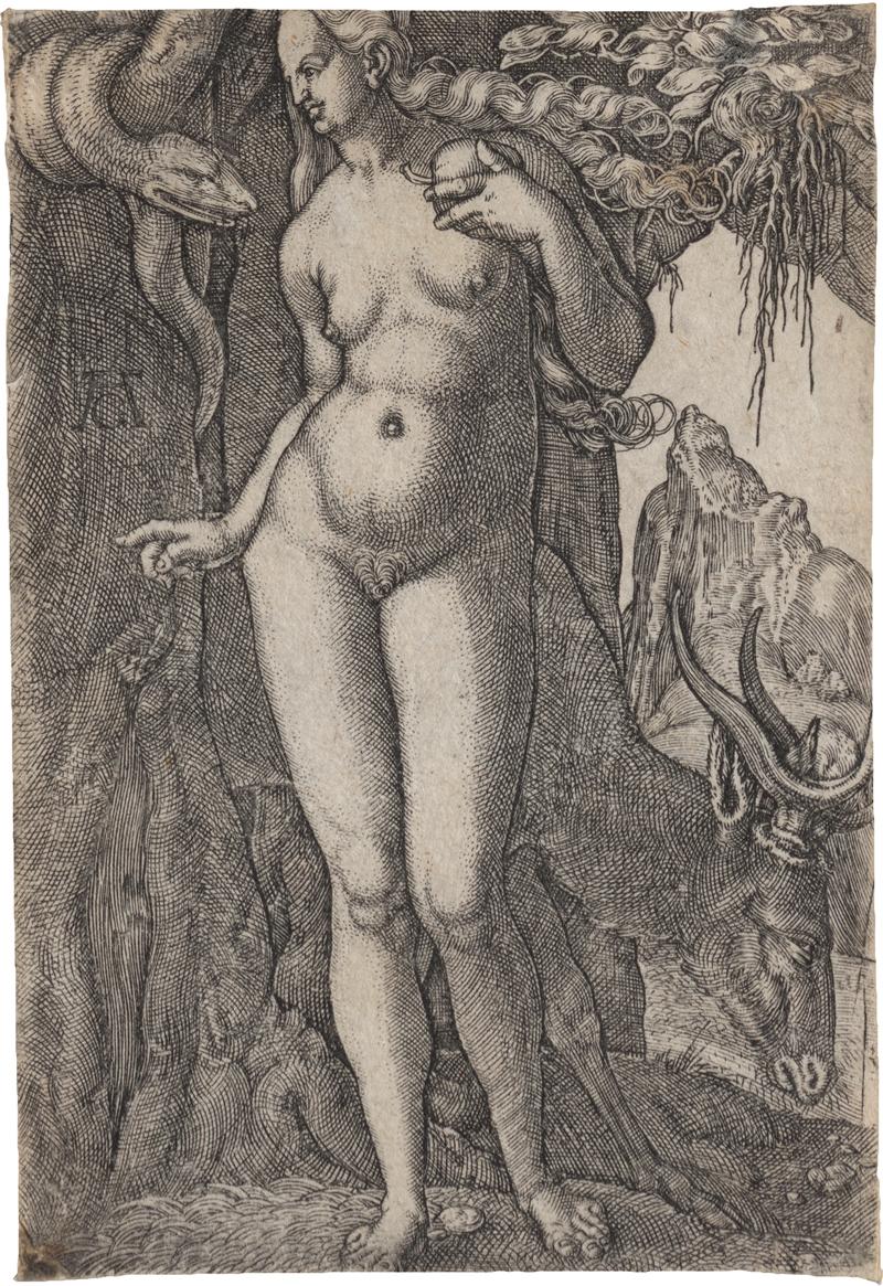 Aldegrever, Heinrich: Adam mit dem Löwen: Eva mit der Hirschkuh