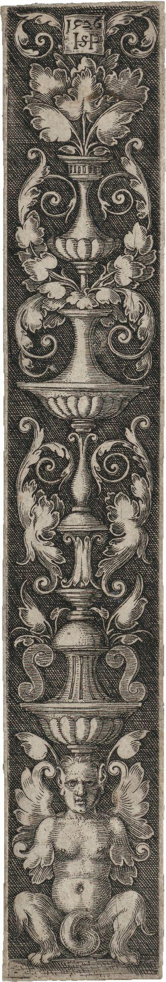 Beham, Hans Sebald: Ornament mit aufrechtem Kandelaber und weiblicher Grotes...