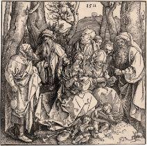 Dürer, Albrecht: Die Heilige Sippe Die heilige Sippe mit zwei musizierend...