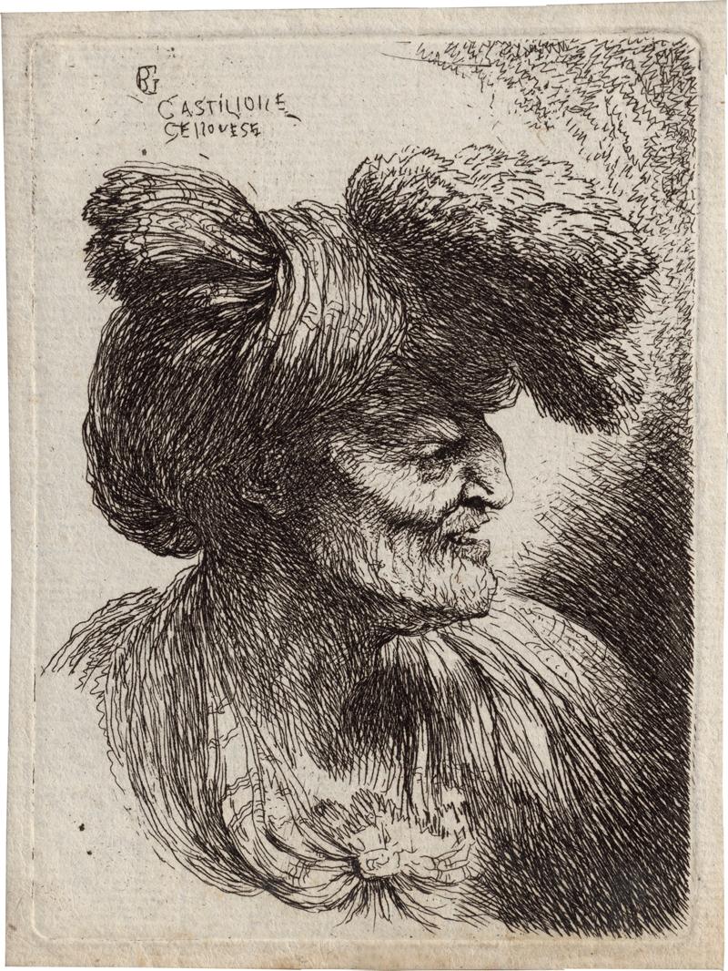 Castiglione, Giovanni Benedetto: Alter Mann nach rechts mit Pelz besetztem Turban