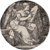 Monogrammist FG: Sitzende weibliche Figur in einer Landschaft, auf eine V...
