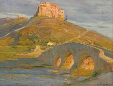 Budtz Møller, Carl: Ansicht von Assisi im Sonnenuntergang