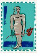 Bach, Elvira: Stehender weiblicher Akt mit Anthurie