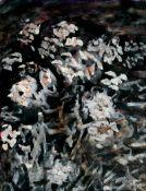 Ascher, Fritz: Weiße Blumen auf schwarzem Grund