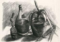 Albert, Hermann: Stilleben mit Kakteen und Weinflasche
