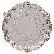 A Victorian silver salver, maker Edward & John Barnard, London,