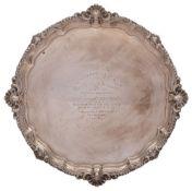 A George V silver presentation salver, maker G.