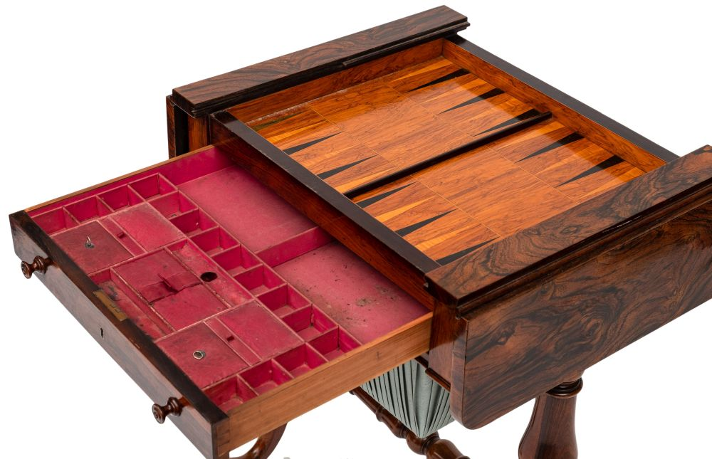 A Victorian rosewood games and work table:, the hinged top with rounded corners, - Image 2 of 3