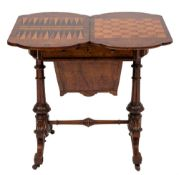 A Victorian burr walnut and inlaid games and work table:,