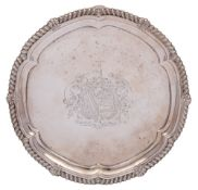 A George III silver salver, maker Paul Storr, London, 1815: crested and inscribed to the reverse,