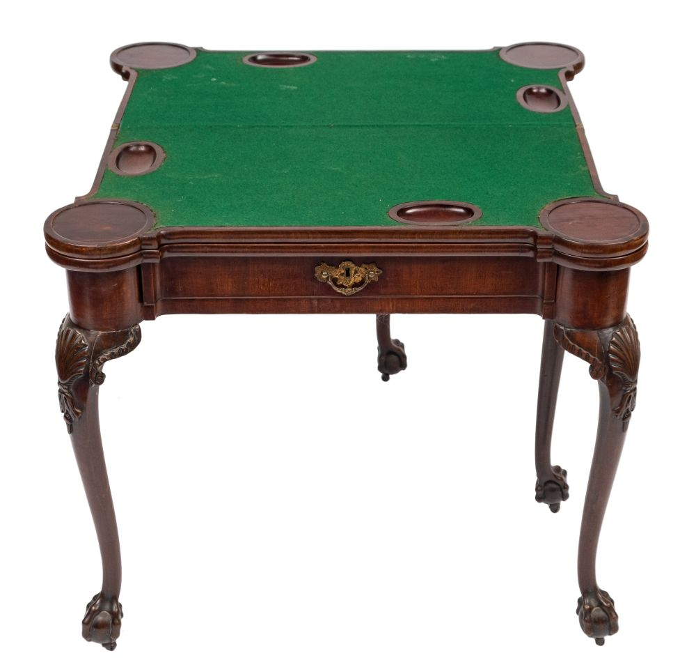 A George II carved mahogany triple top games table: with projecting rounded corners, - Image 3 of 3