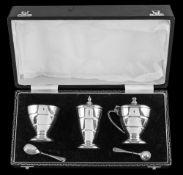 An Elizabeth II silver five-piece condiment set, maker Sanders & Mackenzie, Birmingham,