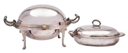 A plated turn-over breakfast dish and cover: with foliate decorated handles to the side,