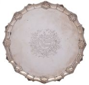 A George III silver salver, maker Elizabeth Cooke, London, 1763: crested, inscribed to the reverse,
