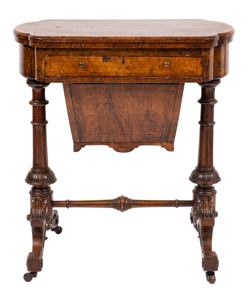 A Victorian burr walnut and inlaid games and work table:, - Image 2 of 2