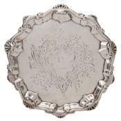 A George III silver waiter, maker I.