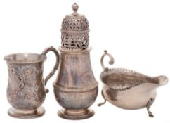 A late Victorian silver sugar caster, maker William Comyns & Sons, London, 1900: of baluster form,