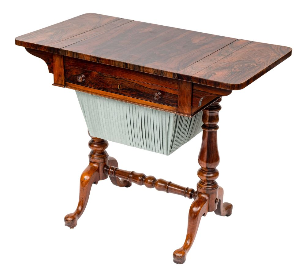 A Victorian rosewood games and work table:, the hinged top with rounded corners, - Image 3 of 3
