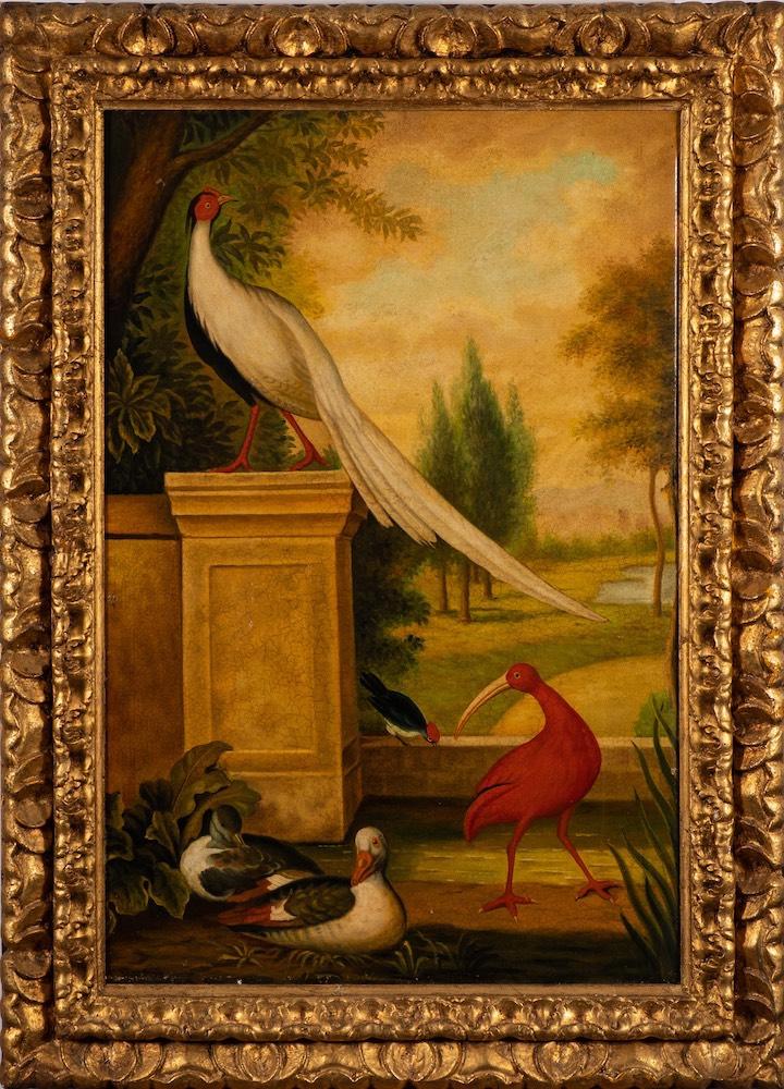 Follower of Marmaduke Cradock [18th Century]- Exotic birds and ducks in a formal garden landscape,
