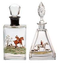 A silver collared glass hunting theme decorated decanter and stopper,