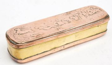 A late 18th century Dutch brass tobacco box: the cover with traces of a stag hunt scene,