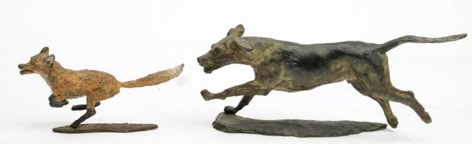 * Sally Rutherford (1940-) A cold painted bronze figure of a fox and another of a hound: both on