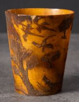 A Georgian horn beaker with shooting decoration: incised with a gentleman with fowling gun and two