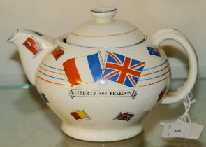 A WWII Ducal 'War Against Hitlerisim' Souvenir teapot: decorated with Flags of Allied Nations and