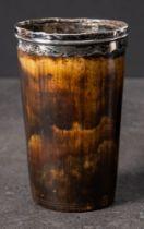 A Georgian silver mounted horn beaker: of plain form circa 1810, 11cm high.