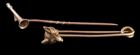 A 9ct gold fox mask pin brooch: and a stick-pin with horn motif.