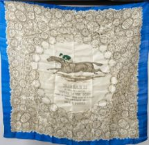 An early 20th century silk horse racing scarf 'Durbar II': with central image of horse with