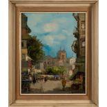 * Theodorus Van Oorschot [1910-1989]- Street market scenes,:- two, both signed oils on canvas,
