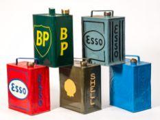 Five various vintage petrol cans: Esso,