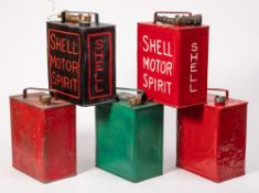 Two Shell petrol cans,