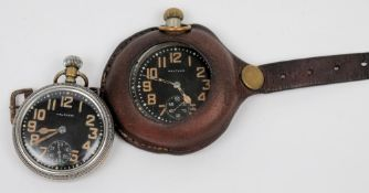 Two Military Issue open face pocket watches by Waltham: both with black dial,