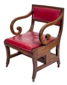 ! A Regency mahogany metamorphic library armchair after a design by Morgan and Sanders:,