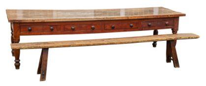 A Victorian ash and elm farmhouse table:,
