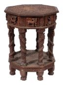 A 19th Century Indian carved hardwood octagonal centre table:,
