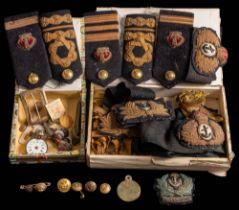 An RYS Terra Nova embroidered cloth cap badge together with four gilt RYS Terra Nova uniform