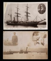 A photographic postcard of the Terra Nova in Port: with vignettes of an officer with a dog and
