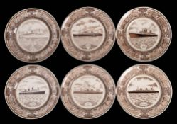 A set of six Masons ironstone Ocean Liner plates: with brown glaze ship portraits within a themed