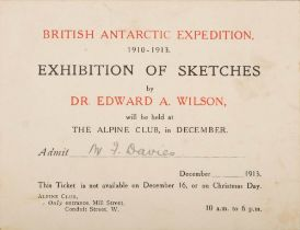A small printed card invitation to Mr F Davies for the 'British Antarctic Expedition 1910-1913