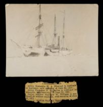 A black and white photograph of the Terra Nova in Pack Ice:, 9 x 11cm (photographer unknown).