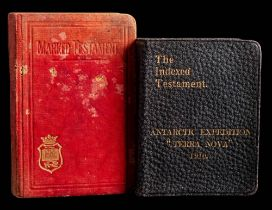 A copy of 'The Indexed New Testament' with gilt stamped black leather binding 'Antarctic Expedition