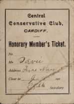 A Central Conservative Club, Cardiff Honorary membership card for Frank Davies:.
