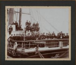 A mounted photograph of the crew of RYS Terra Nova, British Antarctic Expedition 1910:,